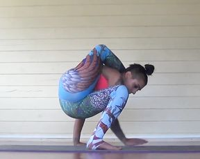 Hot yoga practice with a super flexible girl