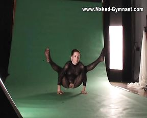 Naked yoga instructor Nataly on a porn photo shoot