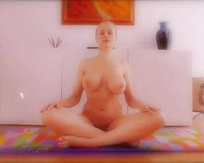 Busty naked girl with big boobs does nude yoga at home