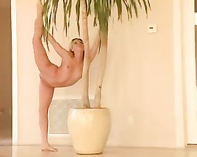 Nude yoga performance with the flexible naked girl