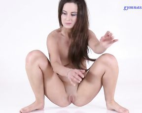 Naked gymnast does yoga sex exercises