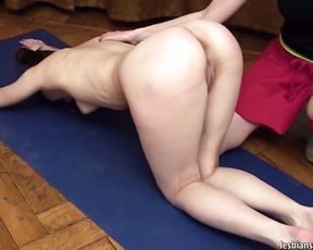 Instructional nude yoga lesbian video