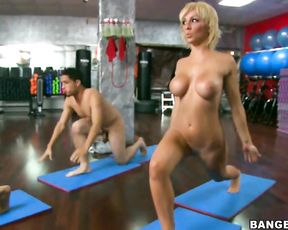 Group naked yoga porn lesson