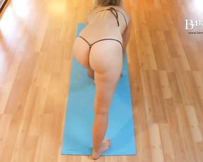 Round ass girl in nearly nude yoga