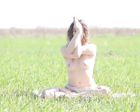 Hot nude yoga erotica in the field