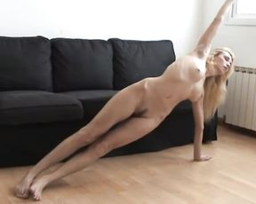 Yoga porn video with the naked athletic girl