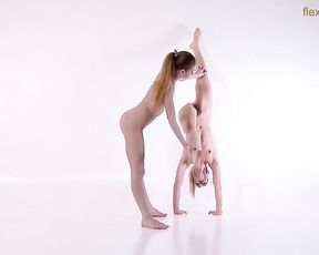 Naked gymnasts perform sensual lesbian yoga sex exercises