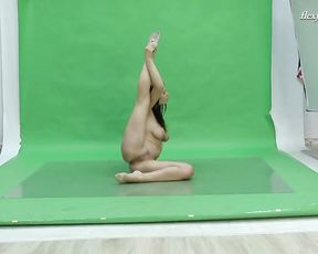 Busty naked gymnast performs yoga sex exercises