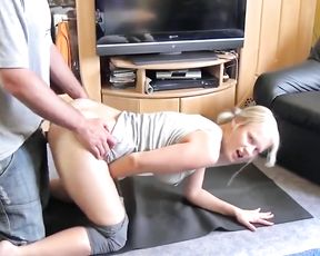 Busty blonde in yoga pants does yoga sex workout