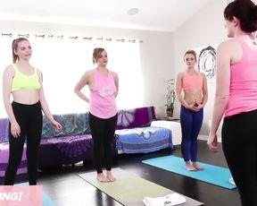 Lesbian teen yoga class