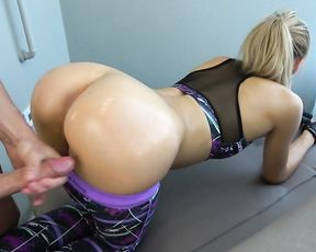 Instructor cums on yoga pants while working out