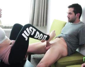 Yoga pants footjob porn