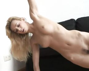 Naked yoga blonde