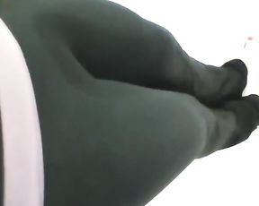 Girl peeing in her tight yoga pants